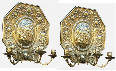 A Pair of 18th Century English Brass Sconces