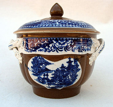 SOLD   A Pearlware Batavia Sugar Bowl