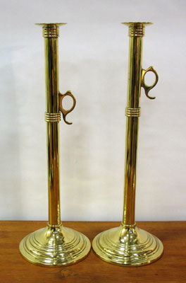 SOLD   Pair of Tall Brass Candlesticks with Pushups