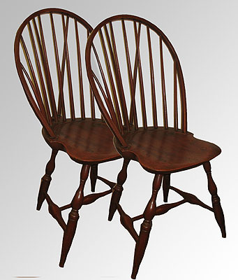 Furniture<br>Furniture Archives<br>SOLD  A Matched Pair of c. 1790 Bowback  Windsor Side Chairs.