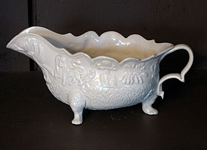 SOLD  An 18th century footed saltglaze sauceboat