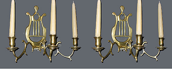 SOLD  Pair of Lyre-Back Brass Sconces