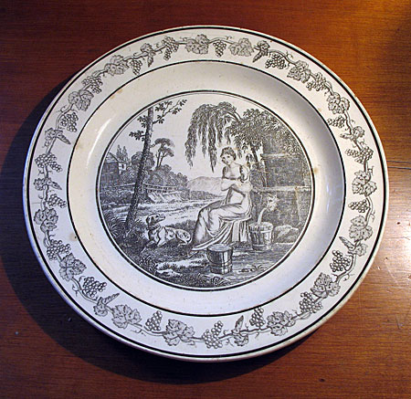 French Creamware transfer plate