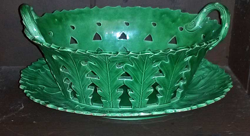 Ceramics<br>Ceramics Archives<br>Green glazed basket and tray
