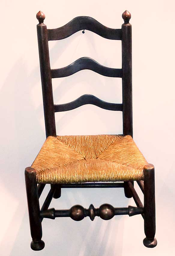 A Delaware River Valley ladder back side chair