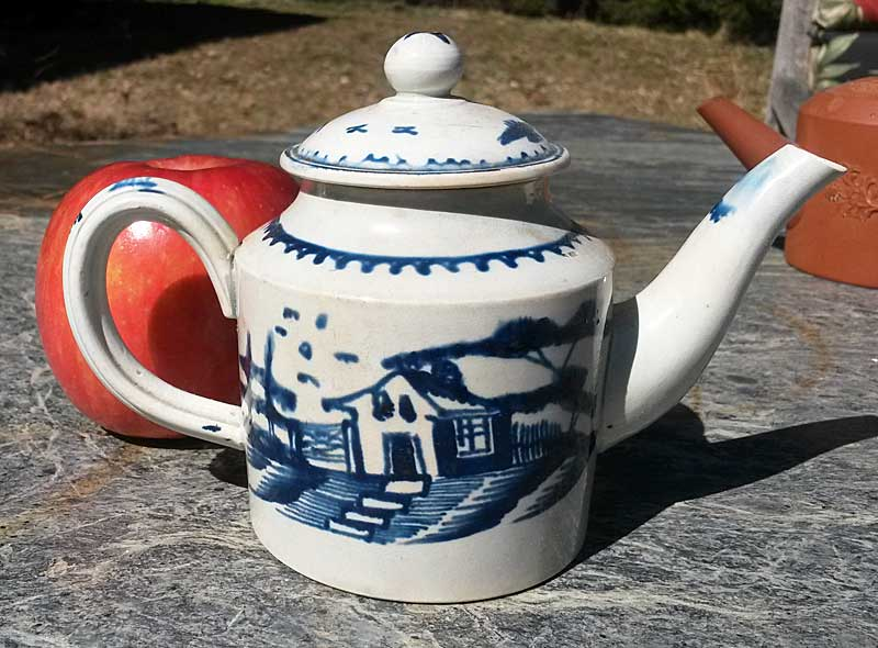 SOLD   Small Pearlware blue and white teapot.