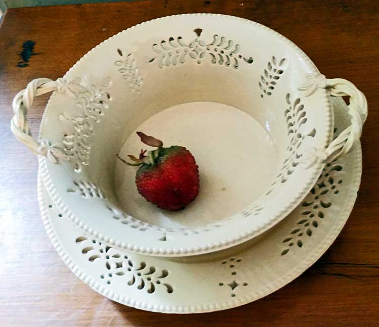 Rare small pierced creamware basket and stand