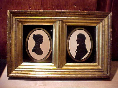 SOLD   Husband and Wife Silhouette in Double Frame