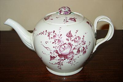 SOLD   Creamware Teapot--rare mark
