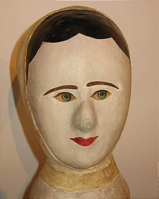 SOLD   A French Papier Mache Milliner's Head or Wig Stand