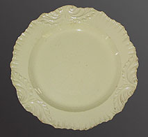 SOLD   Three Creamware Plates with Swag Borders