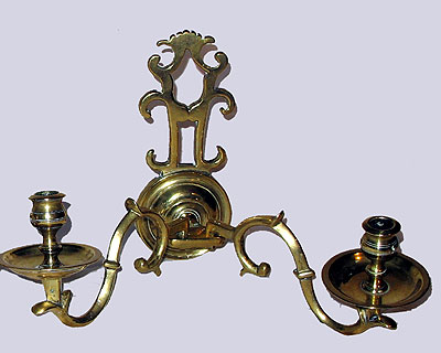 SOLD A Pair of Brass Double Arm Sconces