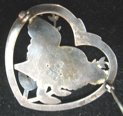 SOLD  Georg Jensen Heart & Bird Pin
