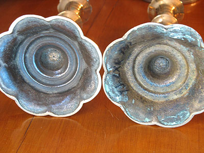 SOLD  A Fine Pair of Queen Anne Petal Base Candlesticks