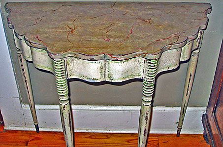 A Paint Decorated Pier Table with Faux Marble Top