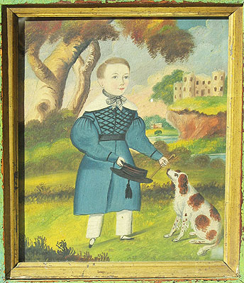 Paintings<br>Archives<br>SOLD  Watercolor of a Boy and his Dog
