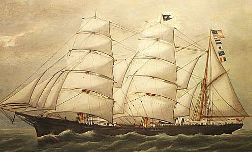 Paintings<br>Archives<br>SOLD  Portrait of the Nellie Brett Built in Calais, Maine in 1877; painted by Frank Barnes.