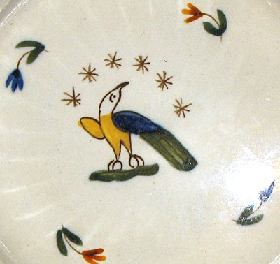 Folky Pearlware Saucer with American Eagle