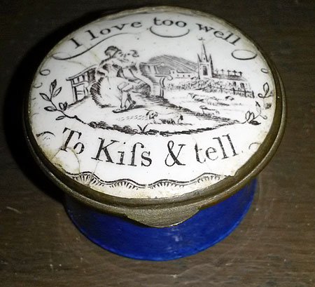SOLD  18th century enamel box about love