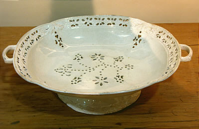 SOLD   Pierced and molded Creamware Fruit Basket