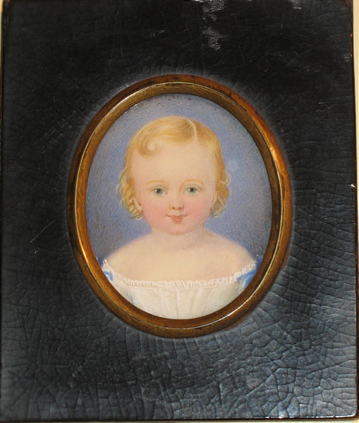 LOVELY MINIATURE PORTRAIT ON IVORY OF A YOUNG CHILD