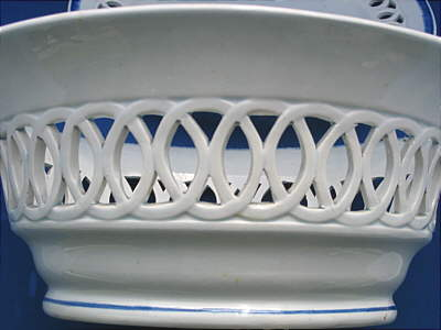 SOLD  Blue and White Pearlware Basket and Stand
