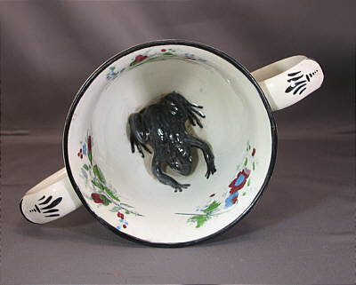 SOLD   Pearlware Loving Cup with Frog!