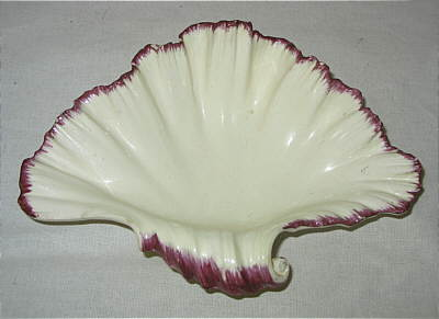 SOLD   Pair of Creamware Shell-edged Shell Dishes