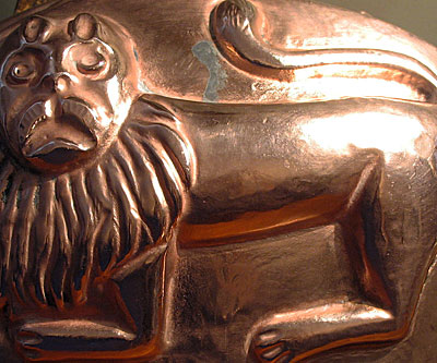 SOLD  A Rare Copper Lion Mold