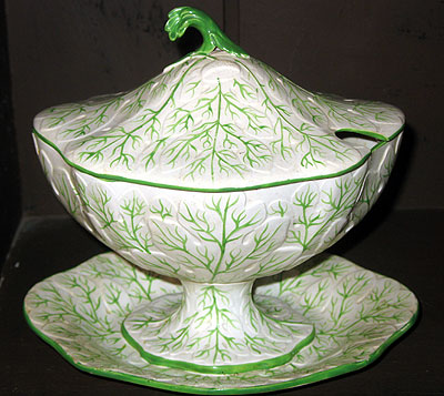 SOLD  A pair of English earthenware sauce tureens