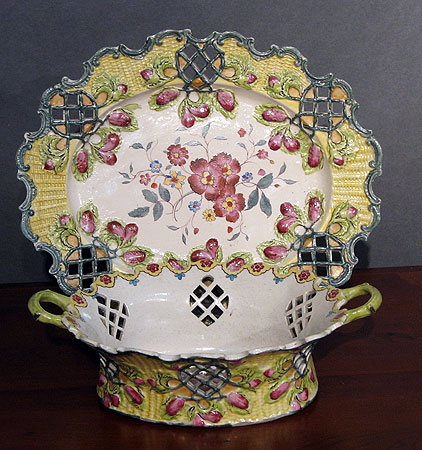 SOLD  Enameled Saltglaze Basket and Stand