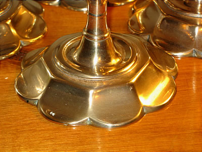 Metalware<br>Archives<br>Rare Set of Four Queen Anne Petal-Base Candlesticks