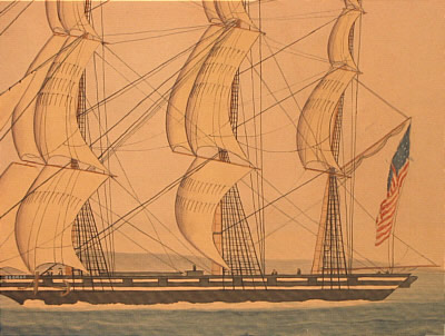Watercolor of an American ship