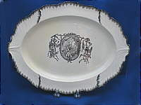 SOLD   Creamware Platter with Transfer of Minerva etc.