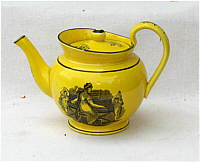 SOLD   Canary Teapot with Adam Buck Style Transfer