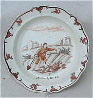 SOLD  Dutch Decorated Creamware Plate