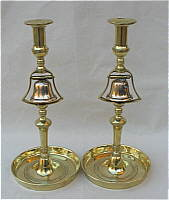 SOLD   Pair of Brass and Bell Metal Tavern Candlesticks