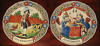 SOLD   A Pair of Creamware Prodigal Son Plates