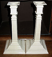 SOLD  A Pair of 18th Century Creamware Candlesticks