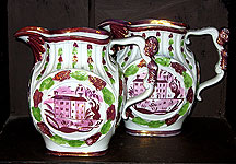 SOLD  A Rare Pair of Pink Lustre Jugs