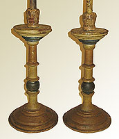 SOLD A Pair of 18th Century Wooden Candlesticks