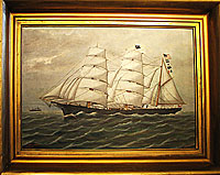 SOLD  Portrait of the Nellie Brett Built in Calais, Maine in 1877; painted by Frank Barnes.