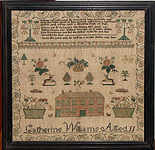 SOLD  A Needlework Sampler by Catherine Williams, Age 11
