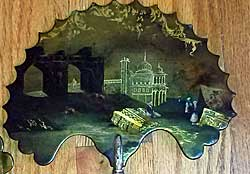 Pair of early Victorian papier mache fire screens