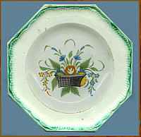 Octagonal Plate with Hand-Painted Flower Basket