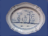 SOLD   Blue and White Platter with Unusual Decoration