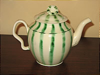 SOLD   Creamware Teapot with green stripes