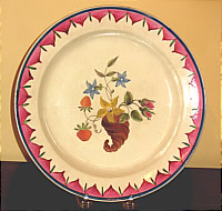 SOLD   Creamware Plate with Enamel Decoration