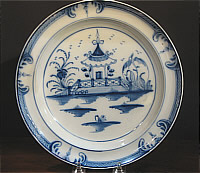 SOLD   PEARLWARE PLATE WITH CHINESE PAGODA DECORATION