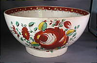 SOLD   Creamware Bowl with Enamelled Roses